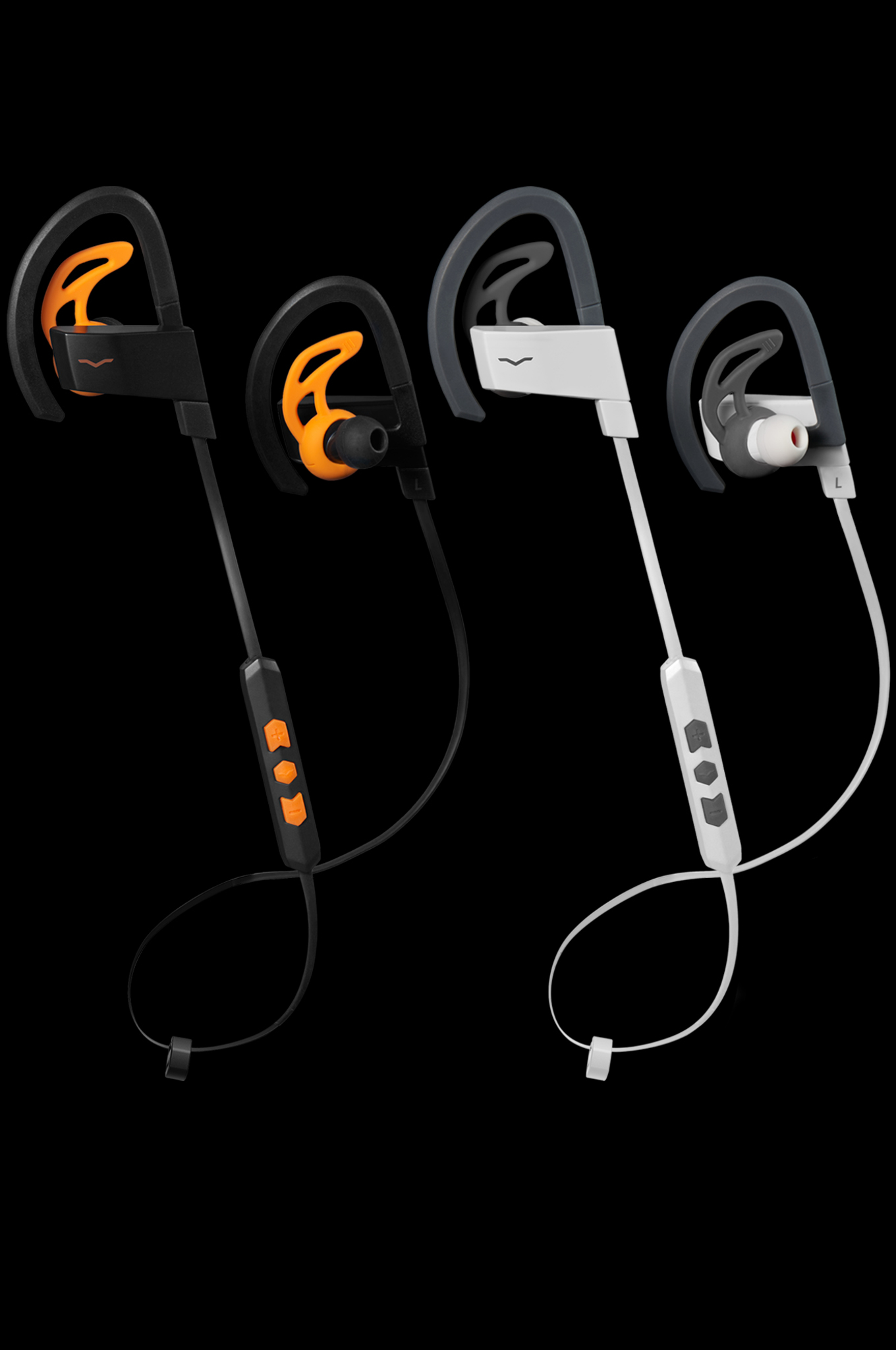 BassFit Wireless Sport In-Ear Headphones in Black and White