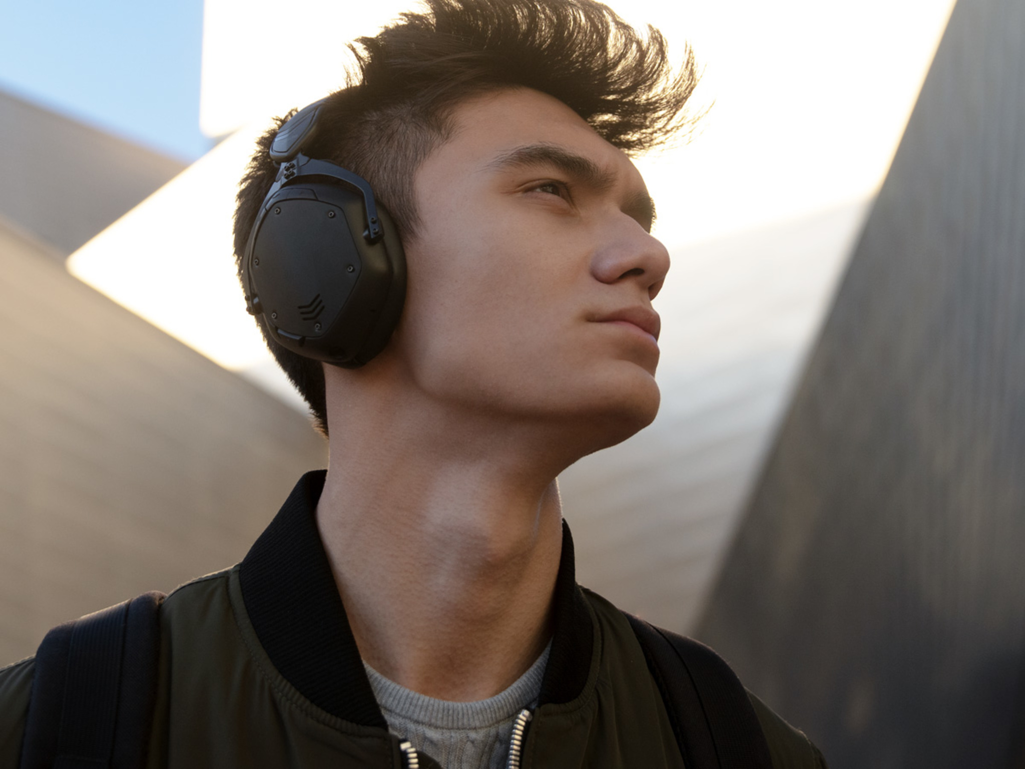Man wearing Crossfade 2 Wireless Codex Edition Over-Ear Bluetooth Headphones in Matte Black with the perfect fit