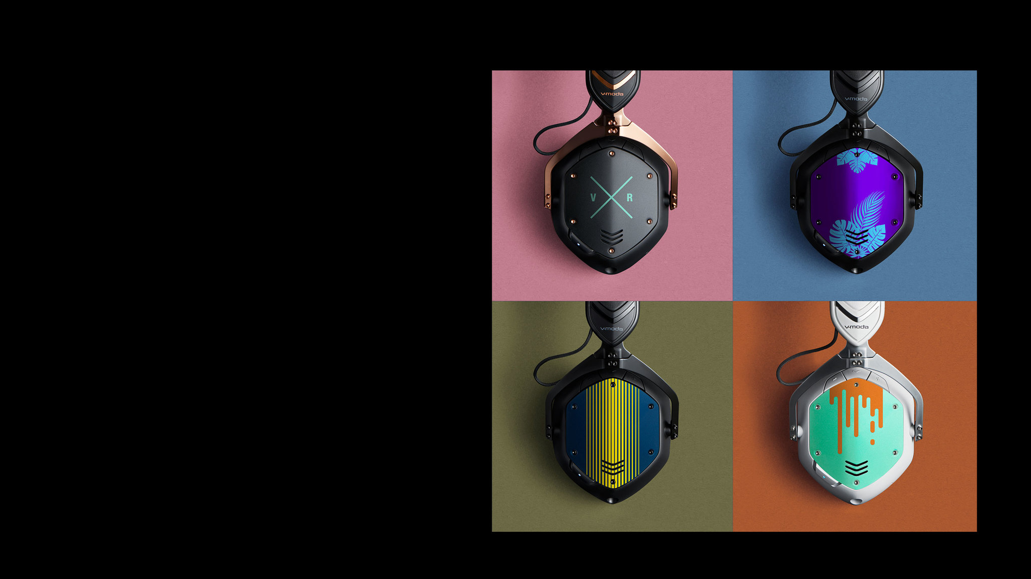 4 pairs of Crossfade 2 Wireless Codex Edition Over-Ear Bluetooth Headphones showing shields customized via laser engraving and color printing